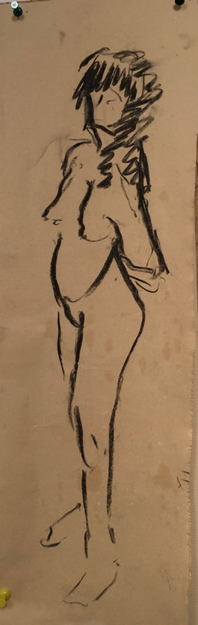 Female nude sketch charcoal