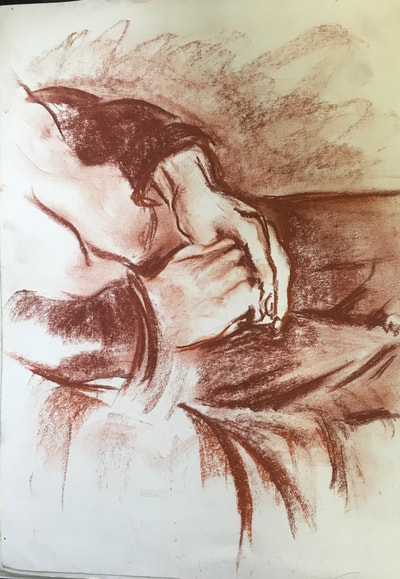 study of hands conte crayon