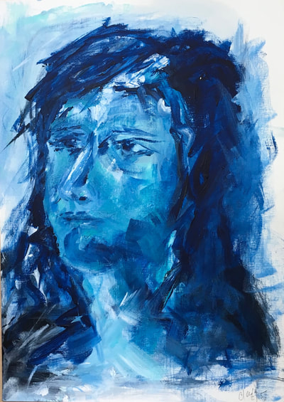 Portrait in Blue acrylic on paper
